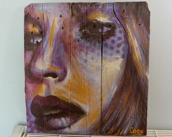 """Painting on wood """"La trame"""""""