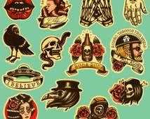 Unique Rockabilly Stickers Related Items Etsy