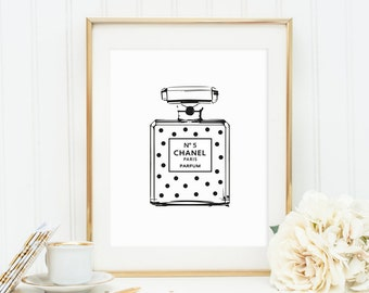 Poster, Print, Wallart: Dotted Perfume Bottle Illustration