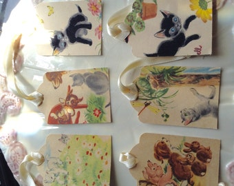 Handmade Gift Tags/ Favor Tags Set of Six: vintage farm animal illustrations from children's book