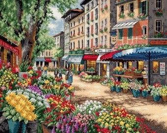 Paris Market Cross Stitch Pattern