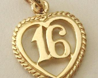 Genuine SOLID 9ct YELLOW GOLD 16 th birthday charm pendant