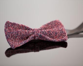 crochet bow tie 100% silk, dark blue bordeaux-ivory