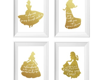 SALE!Set of 4 Disney Princesses Prints,Aurora,Cinderella,Belle,Snow White,Sleeping Beauty,Beauty and the Beast,Disney Quote,Gold Print,Foil