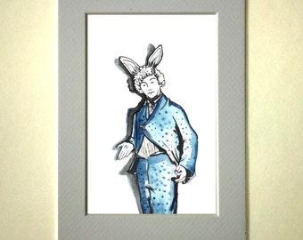 watercolor Bunny original drawing