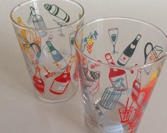Pair of retro 1960s shot glasses.
