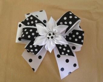 Black and White Polka Dot Flower Hair Bow