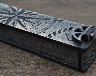 Box for pens, Box for gift, Gift boxes, Packing box, Personalized Box, Jewelry Box Wooden, Marine compass