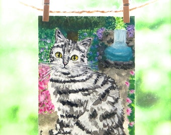 Cat Painting ACEO Original Miniature Art Card by Natalie Heaven - 'Down the Hidden Path' Secret Waterfall Lagoon OOAK