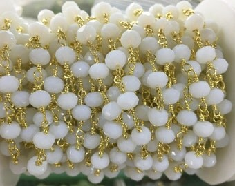 1Meter Wholesale 4*6mm Oyster White Beads Brass Chain ,Gold Plated Wire Wrapped  Chain ,Rosary Chain