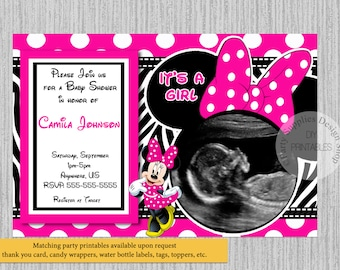 PRINTED or Digital Hot Pink Minnie Mouse Baby Shower Invitations, Ultrasound Baby Shower Invitations, Minnie Shower Supplies Zebra Print