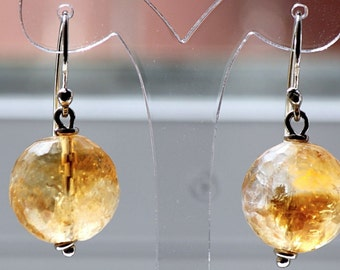 Vintage Sterling Silver Earrings With Murano Gold Glass