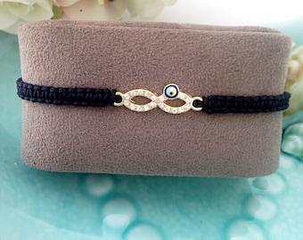 FREE SHIPPING - Infinity evil eye bracelet - best friend bracelet - evil eye jewelry - adjustable bracelet - evil eye charm - evil eye bead