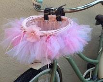 Bike Basket, Basket Bunting, Pink, White, Tulle, girls bike, Accessory, Town Bike, Cruiser, gift,