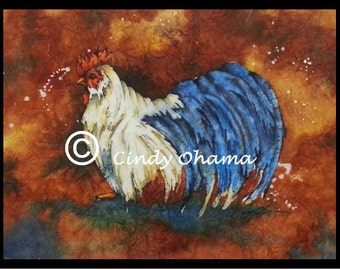 Batik Rooster (Watercolor) by Cindy Ohama