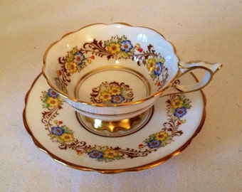 Royal Stafford Yellow and Blue Flower Garland Tea Cup