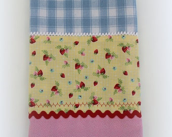 Blue and White Checked Tea Towel with Summer Strawberries