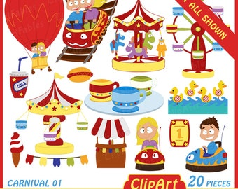 Carnival clipart, amusement park clipart, kids playground clip art, digital clip  art for personal and commercial use