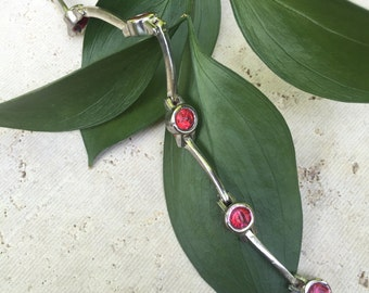 Vintage Sterling Silver bracelet with red crystals