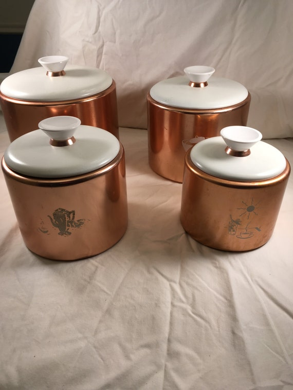 pink canisters kitchen vintage pink aluminum canister set 4 pieces 14554