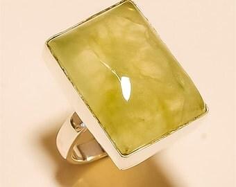 Prehnite RING Solid Sterling Silver