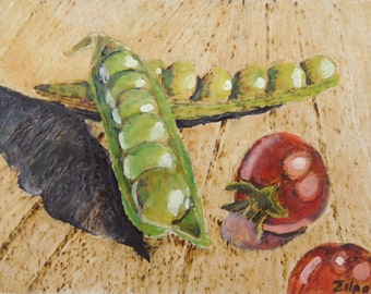 Peas and Small Cherry Tomatoes- Encaustic Painting Over Pyrography - Kitchen Art