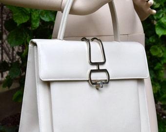 LANCEL  SPACE AGE Style White Leather Handbag