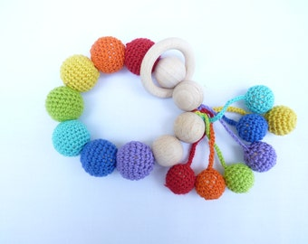 Crochet Bead Rainbow Baby teething rings / Natural 100% cotton / Baby first toy / Cotton yarn toy/ Color toy