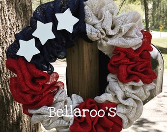 Red White and Blue Patriotic Burlap Wreath