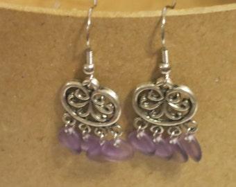 Filigree purple drop earrings