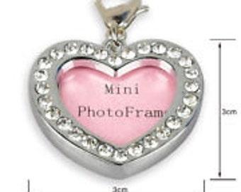 Gorgeous Small Rhinestone Heart Dog Tag/Photo frame