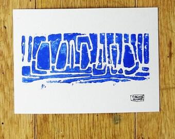 Composition 1 linocut blue