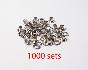 1000 sets 5mm Nickel Grommet Metal Eyelet with washer