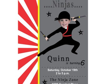 Custom Photo Ninja Birthday Invitation, Photo Birthday Invitation, Personalized Birthday Invitation, Ninja Birthday Party