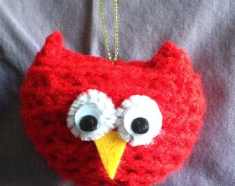Crocheted owl ornament