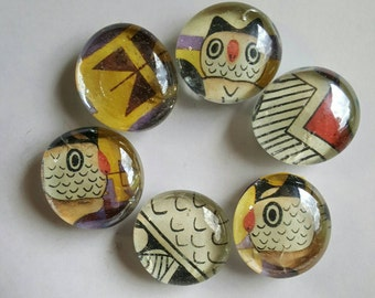 HANDMADE Glass Magnets made from vintage cards. OWLS, AZTEC one of a kind