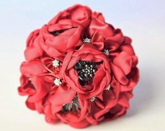 wedding bridal bouquet, brocheboeket, satin flowesr