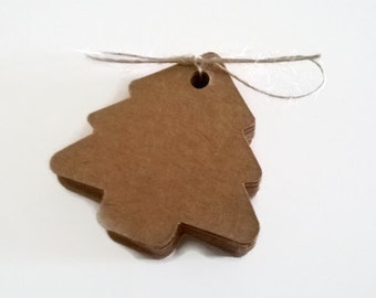 20 Christmas Tree Kraft Gift Tags