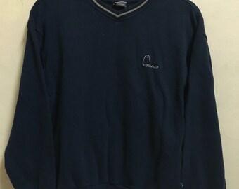 Vintage 90's Head Dark Blue Black Sport Classic Design Skate Sweat Shirt Sweater Varsity Jacket Size M #A153
