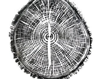 Tree Art Print, Rustic print, Tree Print, Hand-Pressed Print, Tree Ring Print, Elm Tree Print,  Wall Art Print