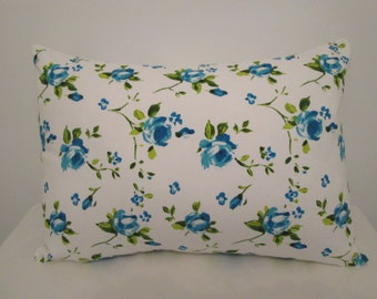 Vintage style floral blue hand made cushion with cushion pad.  Lovely vintage look/feel cushion.  Envelope back with ribbon trim.