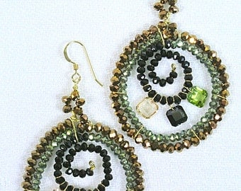Gold Filled Fish Wire with Multi Crystal Earrings