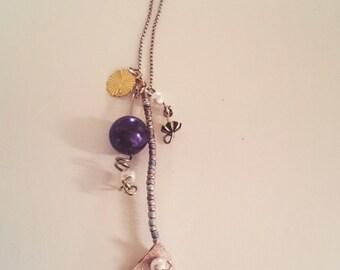 Vinyl Ginko Leaf Necklace