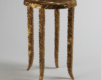 Gold Side Table with Textured Surface