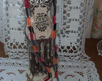 "Vintage necklace:1960s geometric ""liquorice allsorts"" beads"
