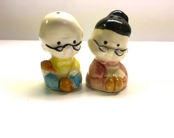 Vintage Salt And Pepper, Couple of Elder Men With Spectacles