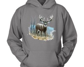 Whitetail Deer Hooded Sweatshirt - Wildlife Shirts for Conservation