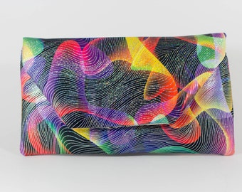 Digital Multicolor Fabric Clutch with Magnetic Snaps
