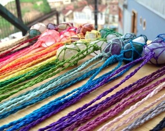 Macrame Wrapped Stone Necklaces
