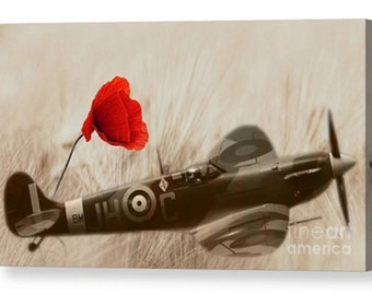 Signed Canvas of a spitfire britain ww2 plane poppy poppies field british art photography world war 2 battle victory air flight present gift